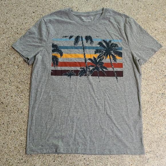 Banana Republic 5 stripe and palm tree men's tee